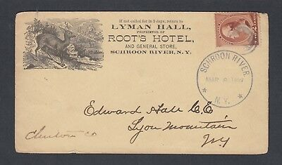 Usa 1887 Root's Hotel Advertising Cover Schroon River New York