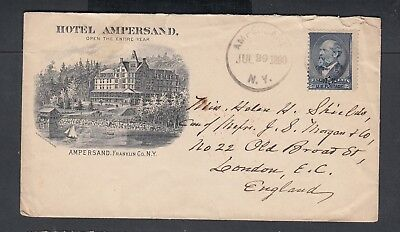 Usa 1890 Hotel Ampersand Advertising Cover New York To London England