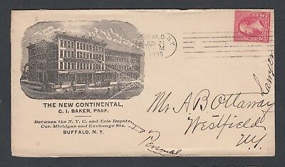 Usa 1898 The New Continental Hotel Advertising Cover Buffalo New York
