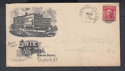 Usa 1906 Erie Hotel Advertising Cover & Letter Dunkirk New York To Westfield
