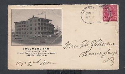 Usa 1899 Edgemere Inn Hotel Advertising Cover Asbury Park New Jersey