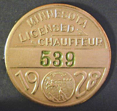 1928 Minnesota Chauffeur Badge with Low Number