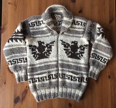 Vintage 70s Cowichan Sweater Jacket Thunderbird Eagle Knit Wool Men's M or L