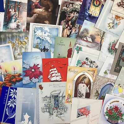 Lot Of 47 Vintage Christmas Greeting Cards Mid Century 1940's 1950's Nativity
