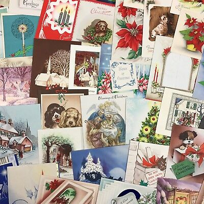 Lot Of 45 Vintage Christmas Greeting Cards Mid Century 1940's 1950's Victorian