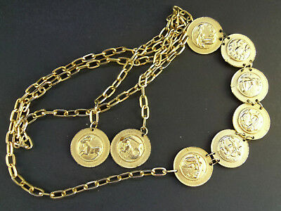Vintage Gold Tone Zodiac Chain Belt for Crafts or Repair Charm Pendant
