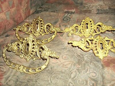 Lot of 4* Vintage KEYHOLE Brass Ornate Dresser Drawer Pulls Handles*#4*F/S*