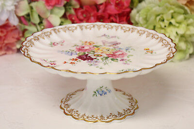"Crown Staffordshire, ""England's Bouquet"" Bone China Footed Compote #2"