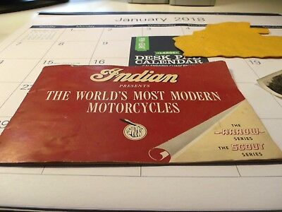 1948-49 indian arrow/scout motorcycles sales brochures + felt patch see pictures