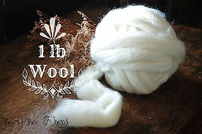 1 LB Natural Ecru Undyed Wool Combed Top Roving for Spinning, Felting