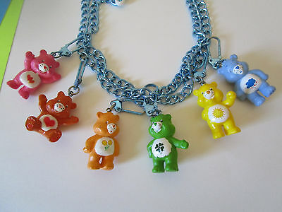 RARE Vintage 6 Care Bears Charms on clips chains. COLLECT Craft JEWELRY Garland