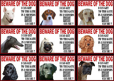 Beware Of The Dog Sign Gate in 3 Seconds Various Breeds set1