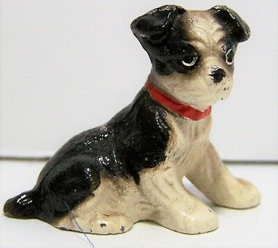 Vintage Cast Iron Boston Terrier Puppy Mini Hand Painted Dog Figurine 118g