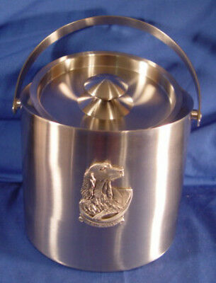 Stainless Steel Ice Bucket with Pewter Irish Setter New in Box Last One