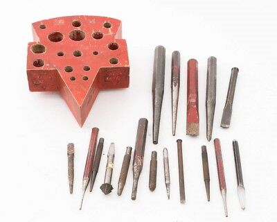 Vintage Keen Kutter Chisel Punch Tool Display Stand Logo Shape with 17 Punches