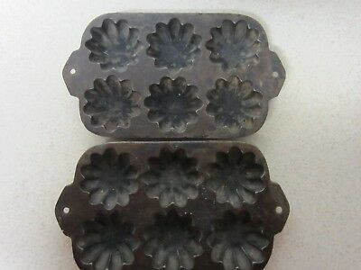 LOT OF 2 VINTAGE  Cast Iron Turk's Head Flower  Muffin Pan Mold Made in USA