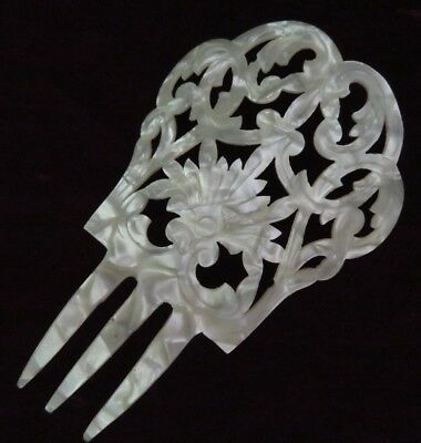 Vtg Antique Victorian Faux Mother Of Pearl Carved Celluloid Hair Comb, Mantilla