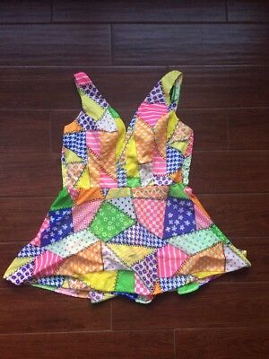 Vintage Patchwork Swimsuit Romper Skirted Suit 1960s 1970s ? Retro Colorful