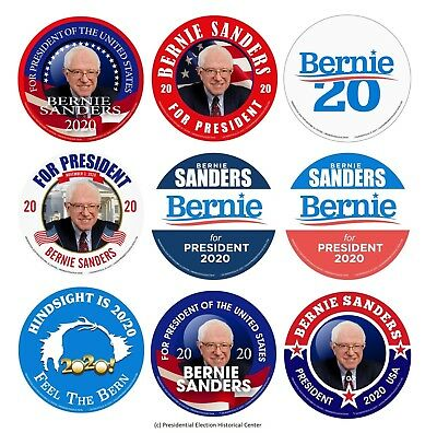 Bernie Sanders For President 2020 Campaign Buttons (Set of 9)