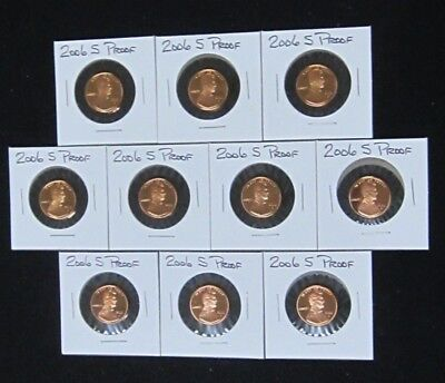 2006 S Proof Lincoln Memorial Cents - Partial Roll - 10 coins