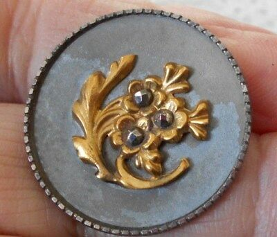 Antique/vintage Early Metal Button With Flowers And Cut Steels   #642