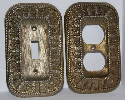 Lot of 2 Vintage 1968 Ornate BRASS Light Switch & Outlet Covers - Amer Tack Hdwe