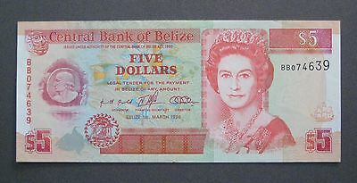 1996 Belize $5 Dollars - P58 -* UNC * - (P018)