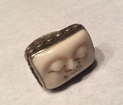"Vtg Sterling Silver Ring Moon Face closed Eyes 1""x5/8"" Bezel Set 7.5sz"