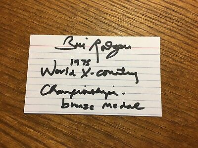 Bill Rodgers Signed 3X5 Index! Summer Olympic Track Marathon Champion Autograph
