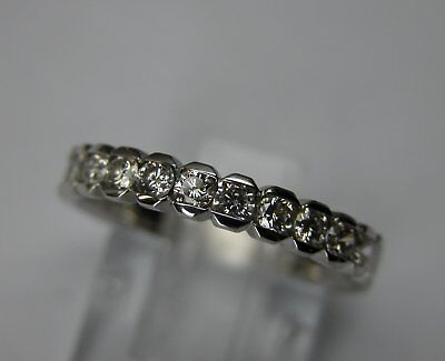 Vintage Art Deco Style Platinum Diamond Wedding Band Ring  0.66 Ctw