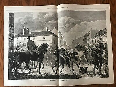 Horse Fair At Horncastle, India.  Huge Double Page Antique Wood Engraving, 1875.
