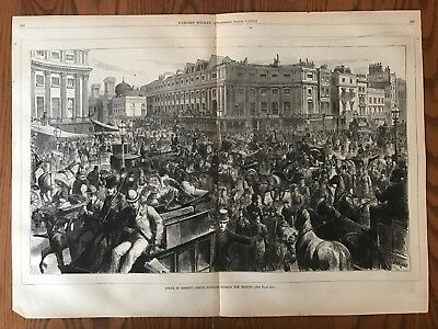 Scene In Regent Circus, London. Huge Double Page Antique Wood Engraving, 1875.