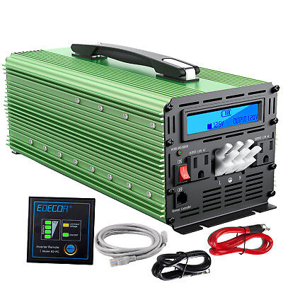 EDECOA Power Inverter 3000 6000 Watt 12V DC to 110V 120V AC LCD Handle Car RV