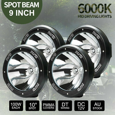 4x 9inch 100W HID Driving Lights Xenon Spotlights Offroad 4x4 12V Black TWO Pair