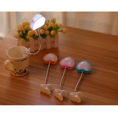 Heart Flexible Clip-on Bright Booklight LED Book Reading Lamp White Light Cool