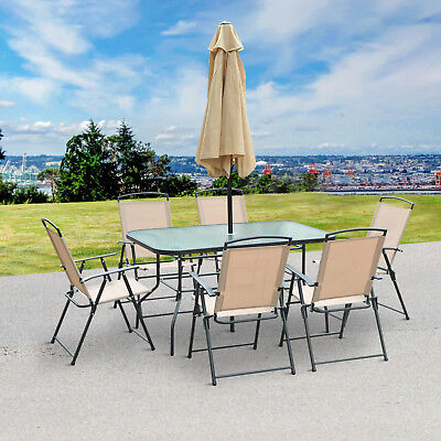 8 Pcs Patio Set Garden Outdoor Furniture 6 Luxury Chairs Glass Table w/ Parasol