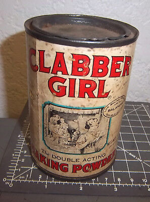 vintage Clabber Girl Baking Powder 10 oz tin (empty), great colors & graphics