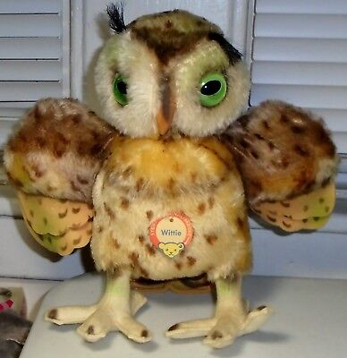 """1950s Steiff Mohair Large """"Wittie"""" Owl w/Wings Out-Has Button, Tag, Label #4322"""