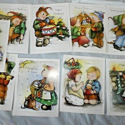 Vintage Christmas Cards Lot of 10 Unused with White Envelopes Boy Girl