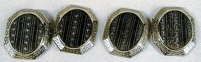 Vintage Art Deco 10k White Gold Engraved Double Sided 2 Sided Cufflinks