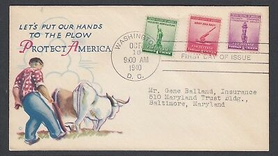 USa 1940-43 WWII TWO PATRIOTIC FIRST DAY COVERS WASHINGTON DC