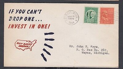 Usa 1942-44 Wwii Thrre Patriotic Covers Buy War Bonds