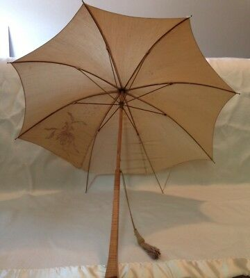 Victorian Edwardian Antique Vintage Umbrella Long Wood Handle Embroidered