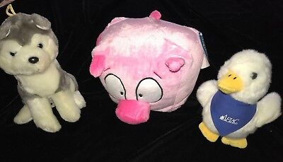 2 pc STUFFED ANIMAL LOT AFLAC TALKING DUCK TOY GRAY WHITE DOG PINK PIG BOXTERS @