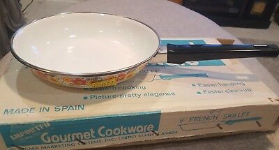 Vintage Enamel Clad Steel Floral French Skillet Pan Made in Spain New old stock