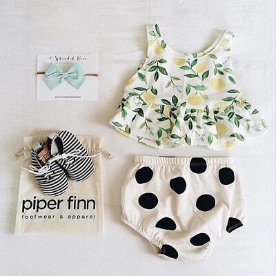 Lovely Summer Baby Girl Outfits Lemon Vest Top T-shirts PP Shorts Pants Clothes