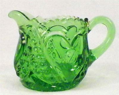 Antique Heart with Thumbprint Creamer Green Glass Tarentum Early American Pressd