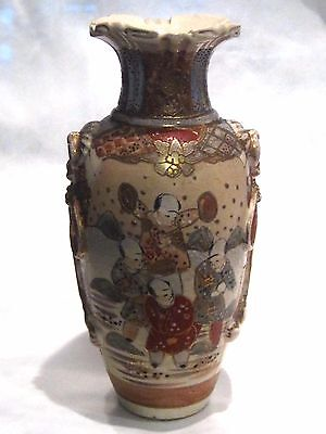 "Antique 19th c Ornate SATSUMA Vase w/ Figures & Applied Ring/Rope Handles 8.75""H"