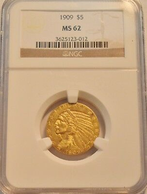 1909 $5 NGC MS 62 Gold Indian Half Eagle, Uncirculated Five Dollar Type Coin