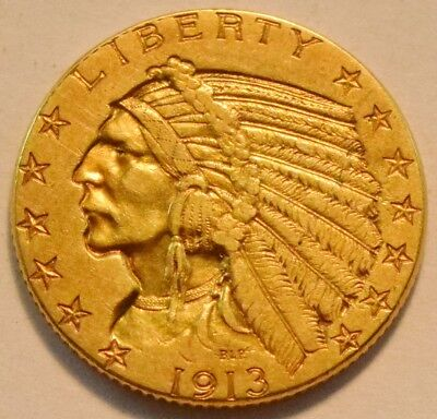 1913 $5 Gold Indian Half Eagle, Higher Grade Five Dollar Coin, Nice Look, Type